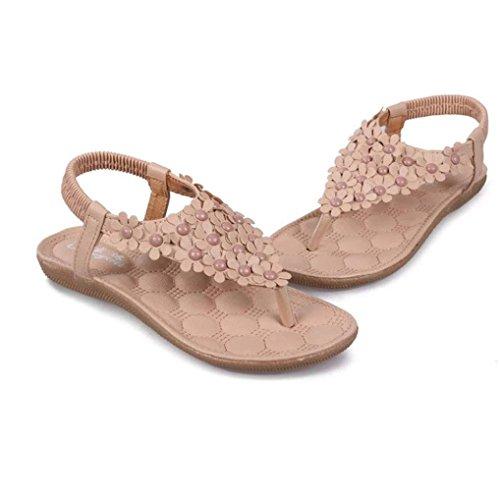 Anboo Mujeres Fashion Sweet Summer Bohemia Con Clip Sandalias De Dedo Del Pie Zapatos Sandalias De Espiga Zapatos De Color Caqui