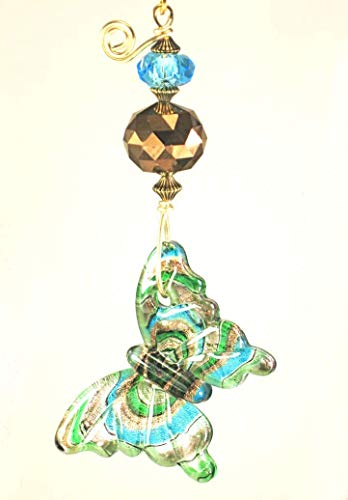 Ceiling Butterfly Pull Fan (Big Bright Turquoise, Green and Bronze Lamp Work Glass Butterfly Ceiling Fan Pull Chain)