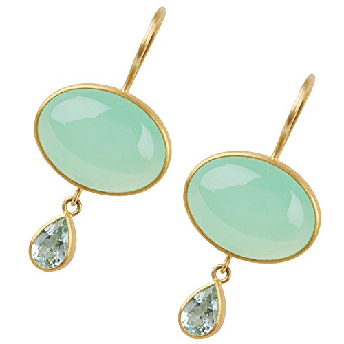 Celebrity style gold plated earring with Blue topaz and aqua chalcedony (Topaz Chalcedony Earrings Blue)
