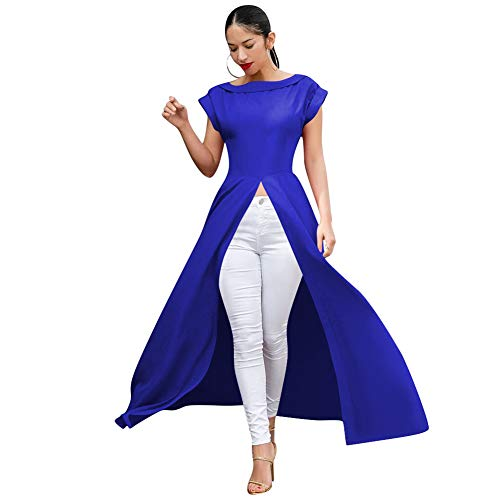 Womens Short Sleeve High Low Front Split Long Maxi Tunic Tops Blue L (Best Shirts To Wear With Maxi Skirts)