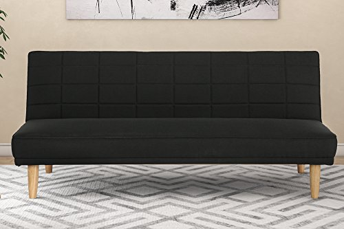 DHP Estera 600lb Linen Upholstery Futon Convertible Sofa with Natural Wooden Legs, Rich Black