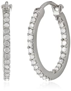 Sterling Silver and Diamond Hoop Earrings (0.5cttw GH Color, I3 Clarity) from Delmar Mfg LLC