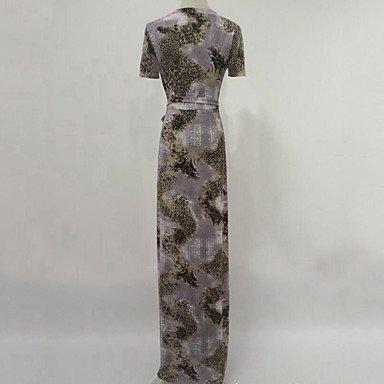 PU&PU Robe Aux femmes Swing Bohème / Chic de Rue,Imprimé Col en V Maxi Coton , gray , m