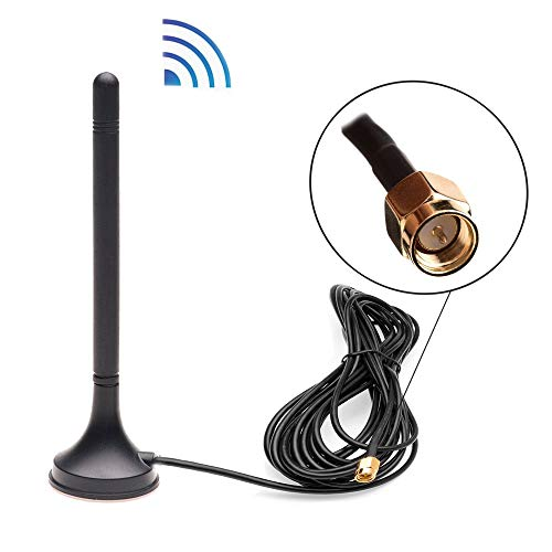 AMprime 2DBi WiFi Antenna Booster with Magnetic Stand Base and 5 M Cable for Wireless Backup Camera/WiFi Rear View Camera/Security Camera