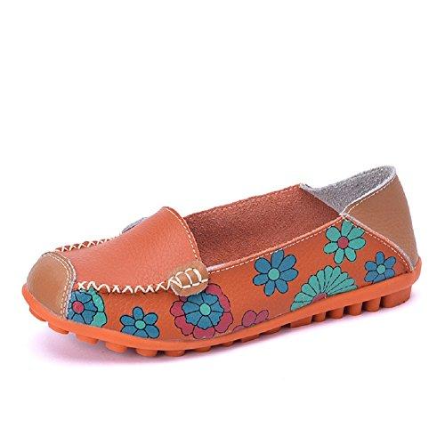 Lazutom Women Lady Vintage Floral Print Driving Loafers PU Leather Slip On Flat Shoes Orange 6cUQZa