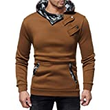 Corriee Tops for Men Mens Autumn Winter Casual Camouflage Slim Long Sleeve Hooded Tops Fashion Daily Pullover Blouse