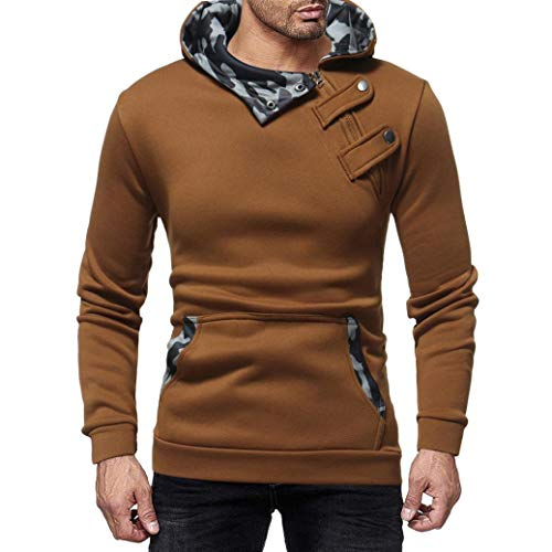 Corriee Tops for Men Mens Autumn Winter Casual Camouflage Slim Long Sleeve Hooded Tops Fashion Daily Pullover Blouse by Corriee Men Hoodies