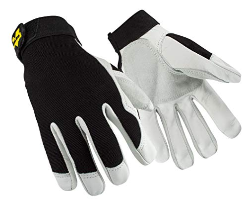 Valeo V255 Dual-Layered Leather Work Gloves for Construction, Handyman, and DIY Featuring Abrasion Resistance, Improved Dexterity, Tough and Stretchable Design