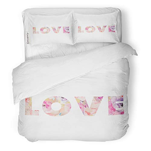 Semtomn Decor Duvet Cover Set Twin Size Colorful Floral Cute Love Typographic Watercolor Flower Quote Wall 3 Piece Brushed Microfiber Fabric Print Bedding Set Cover -