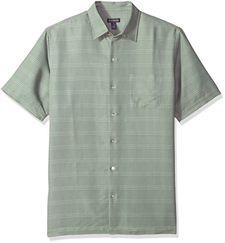 Van Heusen Men's Air Short Sleeve Button Down Poly Rayon Stripe Shirt, Green Birds Egg, Small
