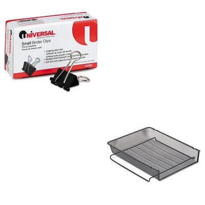 Rolodex Mesh Stackable - KITROL22211ELDUNV10200 - Value Kit - Rolodex Mesh Stackable Front Load Letter Tray (ROL22211ELD) and Universal Small Binder Clips (UNV10200)
