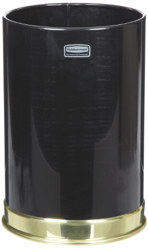 [Rubbermaid Commercial FGUB190010BK Steel Open-Top Trash Can, Round, 5-Gallon, Black] (5 Gallon Steel Open Top)