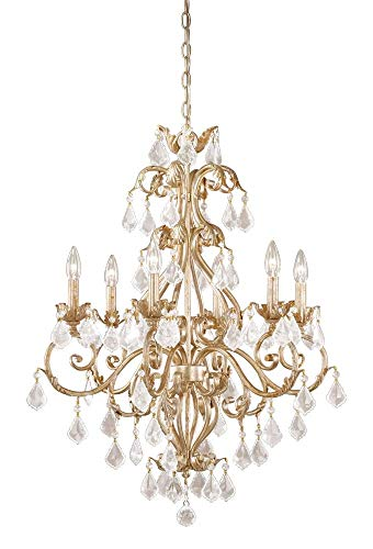 Vaxcel NC-CHU006GW Newcastle - Six Light Chandelier, Gilded White Gold Finish with Clear Crystal