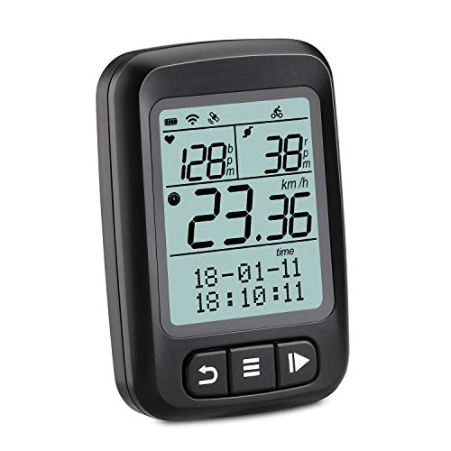 Wantacme Wireless Bike Computer GPS Bluetooth/ANT+ Cycling Computer with Cadence, Heart Rate Monitor IP67 Waterproof Bicycle Speedometer and Odometer