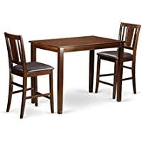 East West Furniture YABU3-MAH-LC 3 Piece Counter Height Table and 2 Bar Stools Set