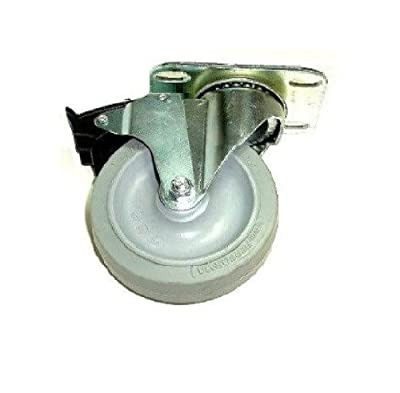 """Colson Swivel Plate Caster with 4"""" x 1-1/4"""" Gray Soft Wheel & Total Lock Brake"""