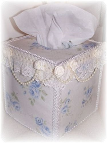Cottage Chic Style Light Blue Shabby Roses Tissue Cover