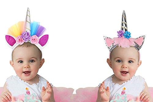 R Themed Costume Party (Unicorn Rainbow Happy Birthday Banner Pennant Party Supplies Glitter Unicorn Horn Headband Flower Ears Hairband for Kids Girls Halloween Costume 3 Pcs)