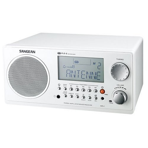 - Sangean WR-2 AM / FM-RBDS Wooden Cabinet Digital Tuning Radio (White)