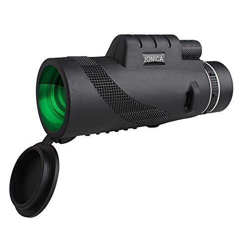 JONICA Optics Explorer High Powered 12X50 Monocular Telescope Bright and Clear. Single Hand focus. High-Definition. Water-Proof. Fog-Proof. For Outdoor Bird Watching 12X50 Monocular Phone Holder