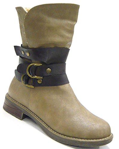 Stiefelette Kunst fell gefüttert damen Schuhe Stiefel Boots beige 38