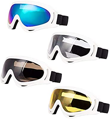 Men Snowboard Adjustable UV 400 Protective Motorcycle Goggles Outdoor Sports Tactical Glasses Dust-Proof Combat Military Sunglasses for Kids Youth Pack of 4 Women Girls LJDJ Ski Goggles Boys