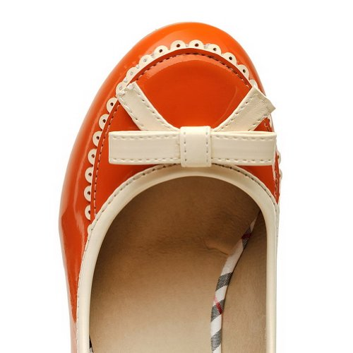Round Heels Closed Kitten With Toe Chunky Orange Womens AmoonyFashion and Toe Heels Pump Colors Shoes Assorted 4qTSw65