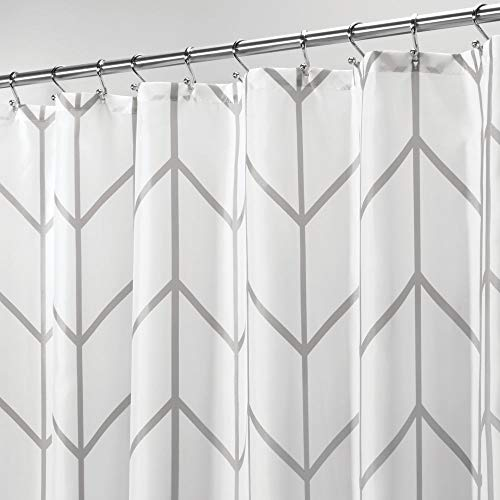 hevron Zig-Zag Print - Easy Care Fabric Shower Curtain with Reinforced Buttonholes, for Bathroom Showers, Stalls and Bathtubs, Machine Washable - 72
