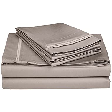 100% Premium Long-Staple Combed Cotton 650 Thread Count, King 4-Piece Sheet Set, Deep Pocket, Single Ply, Solid, Grey