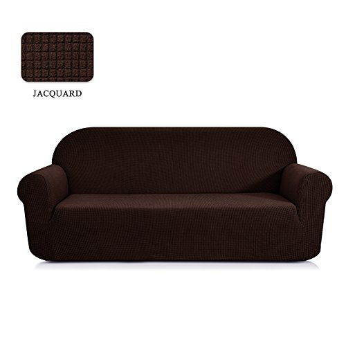 TOYABR 1-Piece Corn Pattern Jacquard Stretchy Fabric Sofa Cover Living Room Polyester Sofa SlipcoversFittedCouchProtector (Chocolate, (Fabric Living Room Loveseat)