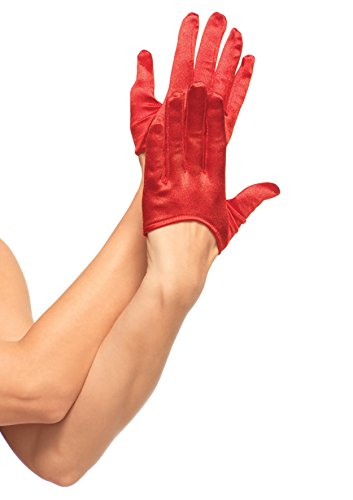 Red Cropped Satin Gloves (2137 Red Mini Cropped Satin Gloves)
