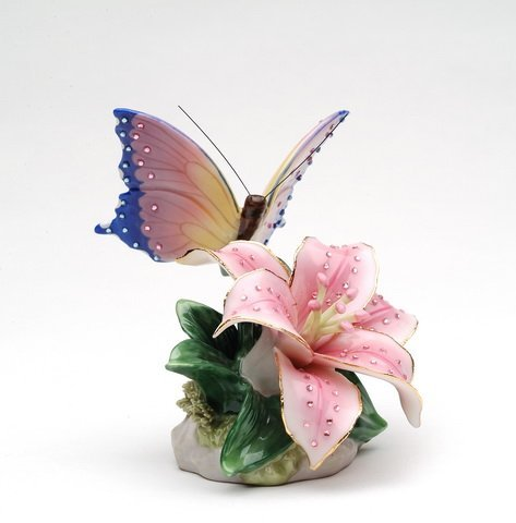 Cosmos Gifts Porcelain Butterfly with Tiger Stargazer Lily IC Musical Figurine, (Music Tune: You are My Sunshine), 3 1/4