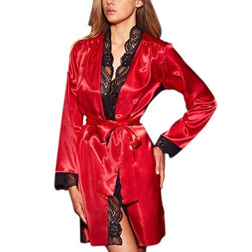 Malbaba Bath Robe,Malbaba Womens Sexy Silk Kimono Sleepwear Open Front Lingerie Babydoll