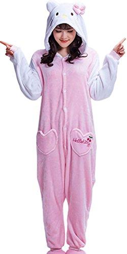 Pulle-A Women's Pajamas - Plush One Piece Cosplay Animal Costume L - Hello Kitty Pajama Costumes