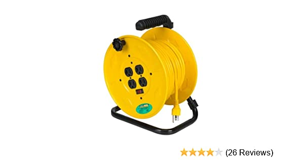 Alert Stamping 7100HD Heavy Duty Manual Cord Storage Reel with 4 Grounded Outlets