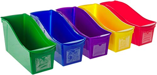 Storex Interlocking Book Bins, 5 1/3 W x 14 1/3 L x 7 H, 5 Color Set, Plastic (70105U06C)