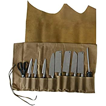 Genuine Leather Chef s Knife Roll Waxed Canvas Chef s Tool Roll Bag  Waterproof Multi Purpose Knife Storage Tote Bag with 10 Slots Leather Cover  Wrap Best ... c2cb4db5be142