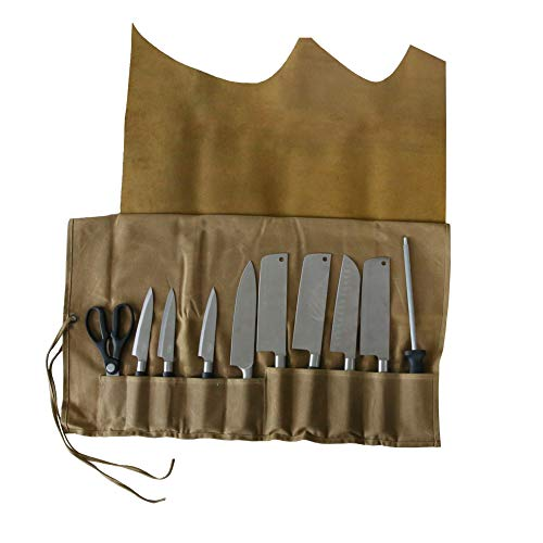 Genuine Leather Chef's Knife Roll Waxed Canvas Chef's Tool Roll Bag Waterproof Multi Purpose Knife Storage Tote Bag with 10 Slots Leather Cover Wrap Best Gift for Him or Her HGJ03-C