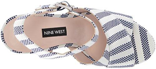 Blue West25032457 Nine White Dark Femme Tissu off Jimar Fabric FAwqAv