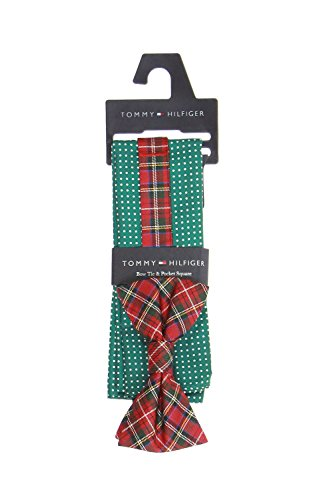 Tommy Hilfiger Men's Royal Stewart Pin Dot Bowtie and Pocket Square Set, Green, One Size