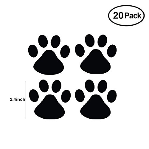 Cars Print - Finduat Dog Paw Prints Sticker - Car Or Wall Clings, Dog Pup Removable Vinyl Wall Sticker Decoration Décor For Children Nursery Room Home Décor Art Mural DIY(Black, 20Pack)
