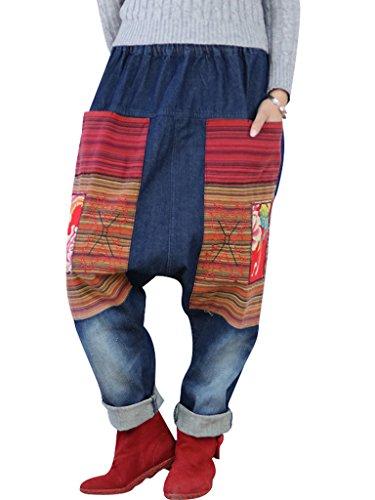 Bigassets Femmes Taille lastique Pantalons en jeanHarem Jeans Style 3
