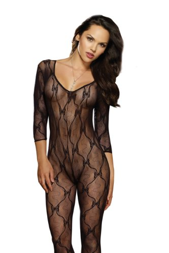 Dreamgirl Women's Long Sleeve Bow Lace Bodystocking with Open Crotch