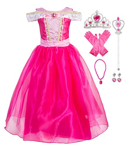 Okidokiyo Little Girls Princess Aurora Costume Halloween Party Dress Up (Pink with Accessories, 7-8 Years)