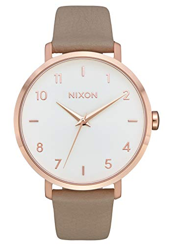 Nixon Arrow Leather Rose Gold/Gray Casual Women's Watch (38mm. Rose Gold & White Face/Gray Leather Band)