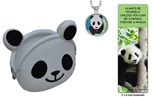 Child's panda necklace gift set in black and white panda coin purse with fun quote panda (2007 Panda Gold Coins)