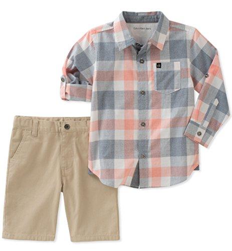 Calvin Klein Baby Boys 2 Pieces Long Sleeves Shirt Set Shorts