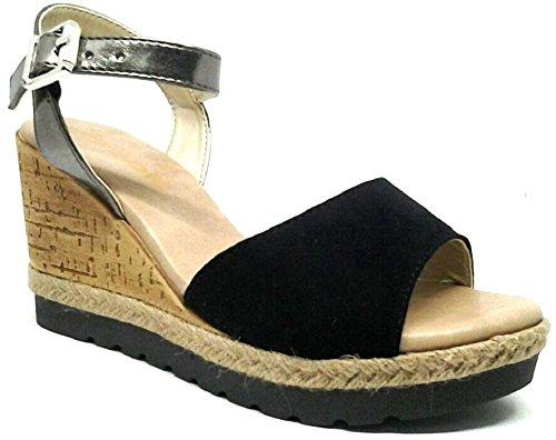 INBLU - Sandalias de vestir de piel sintética para mujer negro negro 38