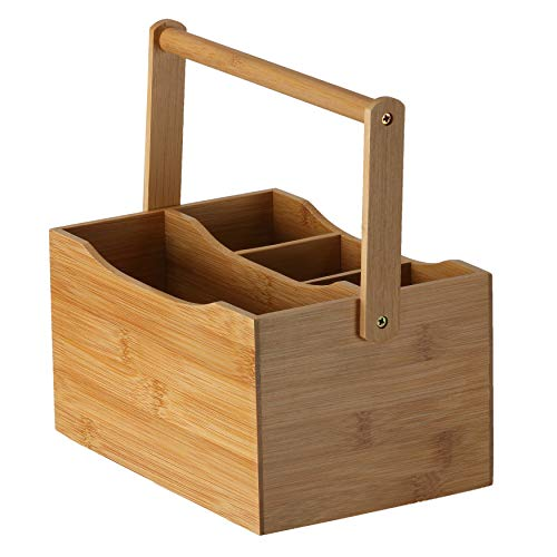 Cortesi Home CH-AX900325 Kira Natural Bamboo Cutlery Caddy Tabletop Holder with Handle and 4 Compartments, Brown