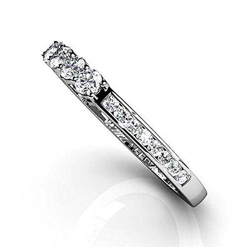 Or blanc 14K Centre quatre Bande de diamant